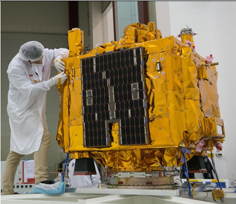 Left: MICROSCOPE satellite during vibration test campaign (©CNES GRIMAULT Emmanuel 2015). Right: T-SAGE payload sensor units and front end electronics in satellite clean room before integration (©CNES/S. Girard, 2014).
