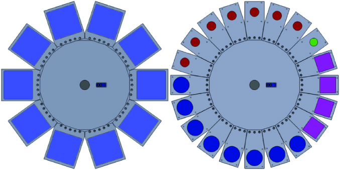 Carousel with different types of cartridges. In the left image, large size cartridges are installed. The right image shows the normal design concept, which can assemble twenty filters of less than 7 mm thickness and 50 mm