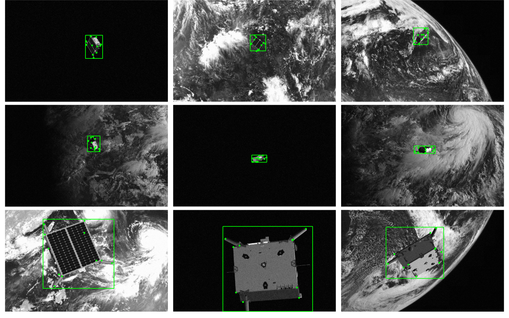 A montage of random test images with the predicted bounding boxes of the satellite and the estimated 2D landmarks.