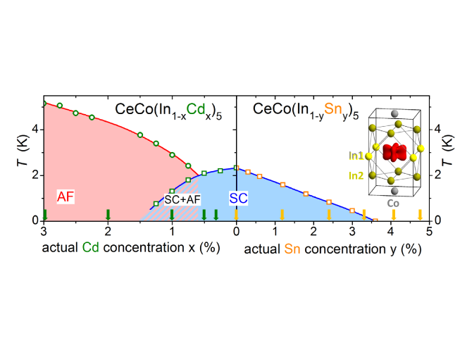 (Color online) Temperature–doping phase diagram of CeCo(In