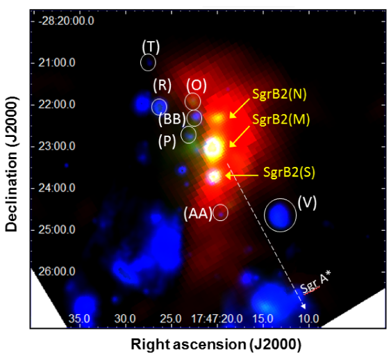 Composite image of the Sgr B2 molecular cloud with the MIPS 24