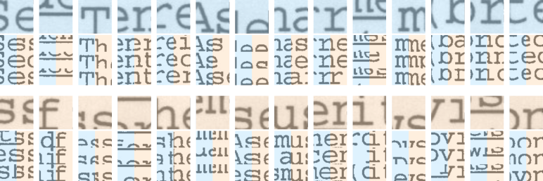 """Local samples nearest neighbors. In the top row, the largest square is the """"query"""" sample (before binarization) followed, below, by its binary version and its 3 nearest neighbors side-by-side (with the closest in the top row). The blue and orange samples were projected by"""