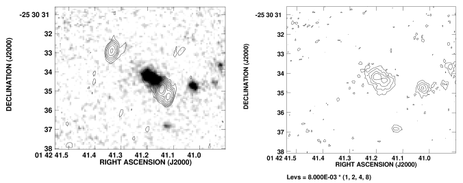 : A grey scale representation of the near infrared continuum emission of the radio galaxy MRC 0140