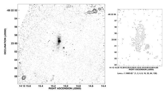 : Grey scale representation of the near infrared continuum emission of the radio galaxy USS 1410