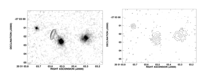 : Grey scale representation of the near infrared continuum emission of the radio galaxy MRC 2025
