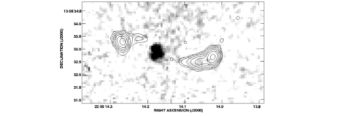 : Grey scale representation of the near infrared continuum emission of the radio galaxy MRC 2104
