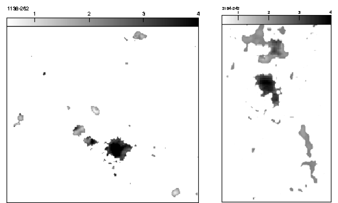 The optical to infrared spectral index distribution for the radio galaxy USS 1707+105 (left) and MRC 2025