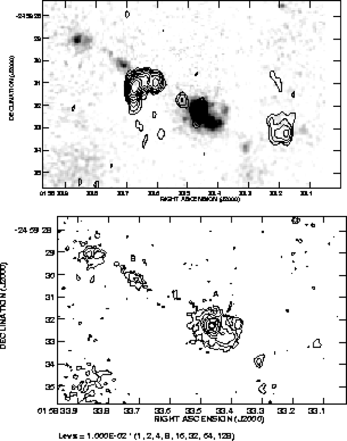 : A grey scale representation of the near infrared continuum emission of the radio galaxy MRC 0156