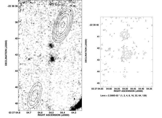 : A grey scale representation of the near infrared continuum emission of the radio galaxy MRC 0324