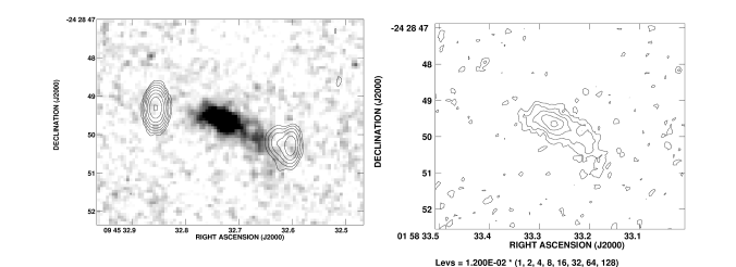 : A grey scale representation of the near infrared continuum emission of the radio galaxy MRC 0406