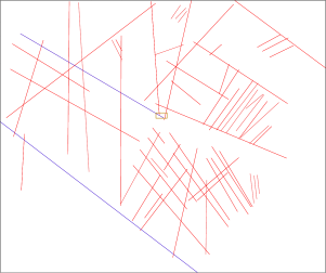 In the left the interpretation of the set of fractures superimposed to the map. In the right the geometry used in the simulations. The rectified fractures are depicted in blue.
