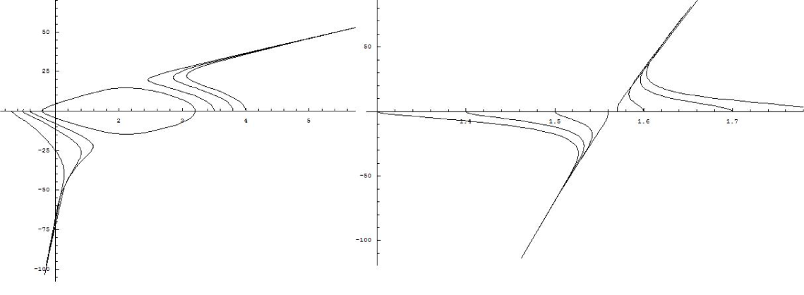 Phase space diagram for tuning the initial conditions for the true (Left) and the false (Right) vacuum bubbles. On the left, we set