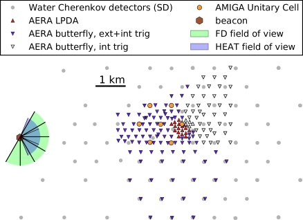Map of the Auger Engineering Radio Array. 150 radio-detector stations cover a total area of 17km