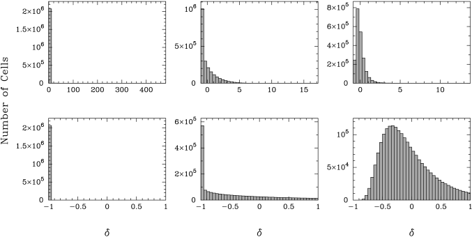 Histogram of the initial density field at redshift