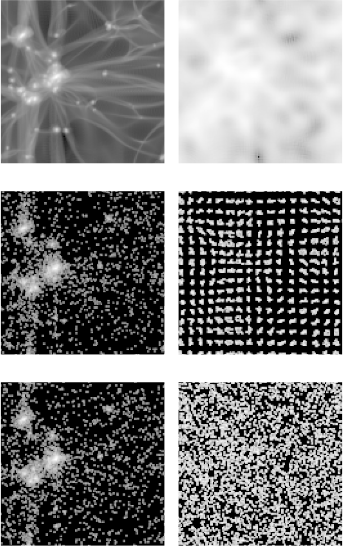 Logarithmic grey-scale map of the projected density field at redshifts