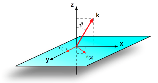 Photon momentum and polarization vectors. Because of the rotational symmetry in the