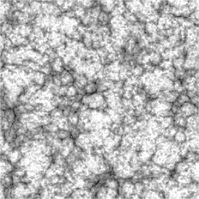 The projected density of ionized gas in a slice through the