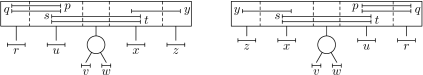 Two equivalent MPQ-trees with denoted sections. In all figures, we denote P-nodes by circles and Q-nodes by rectangles.
