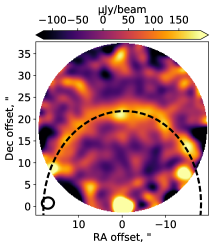 Dirty image i.e. the Fourier transform of the visibilities. The star is detected at high significance at the bottom of the image with the ring detected as a faint arc in the centre of the image. Contours are in increments of