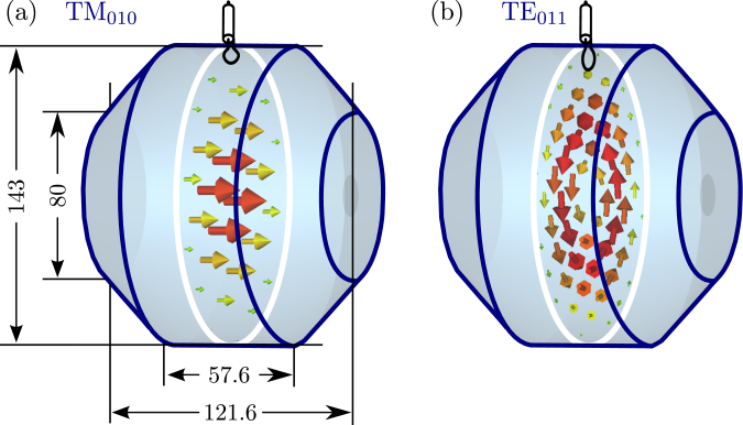Inside dimensions of the cavity in [mm]. The coupling loop can be seen on top. The electric field configuration of two modes is shown on a transverse cutting plane. (a) TM