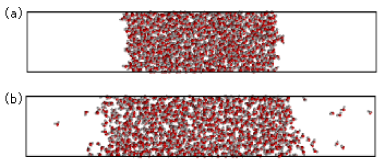 (Color online) Sample simulation cell, showing equilibrated configurations of 1000 SPC/E water molecules at (a)