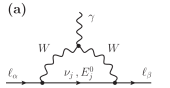 Lowest-order diagrams that are relevant for the amplitude calculations of LFV decays (