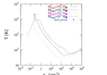 The evolution of the central temperature as a function of the central number density for halos with z