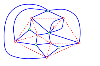 The quadrangulation (blue solid edges) associated with the map of Figure
