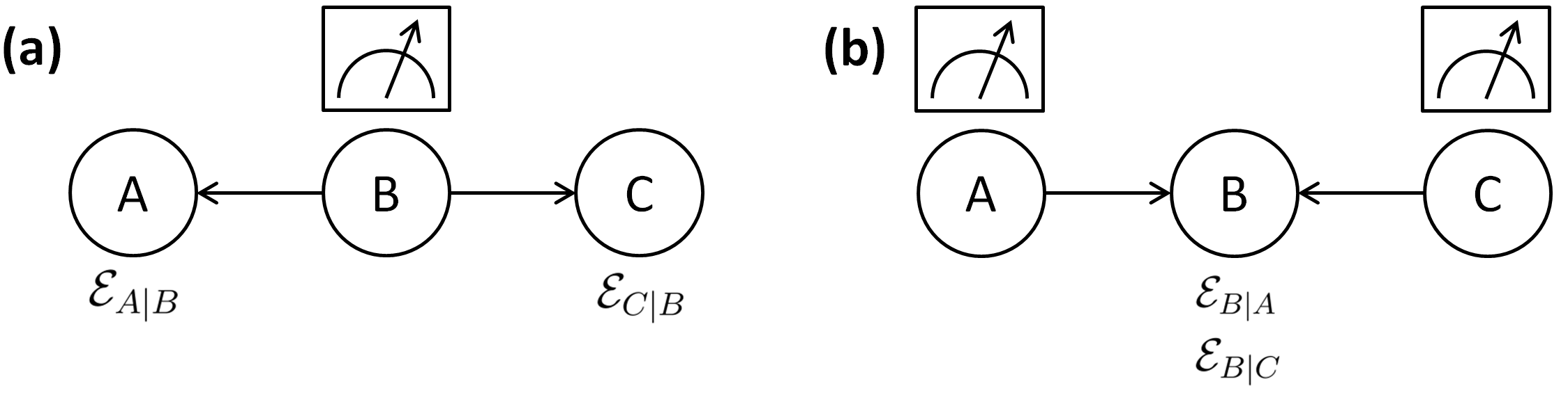 The two scenarios for studying monogamy, with arrows between parties indicating the direction of steering. (a) Bob performs a measurement to steer Alice and Charlie, with corresponding steering ellipsoids