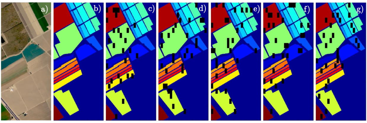 Our benchmark data (five non-overlapping folds) generated over the Salinas Valley set: a) true-color composite, b) ground-truth, c)–g) visualization of all folds: black patches contain training pixels, whereas the other pixels are taken as test data.