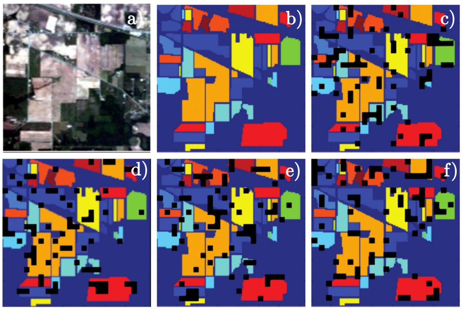 Our benchmark data (four non-overlapping folds) generated over the Indian Pines set: a) true-color composite, b) ground-truth, c)–f) visualization of all folds (meanings of colors as in Fig.