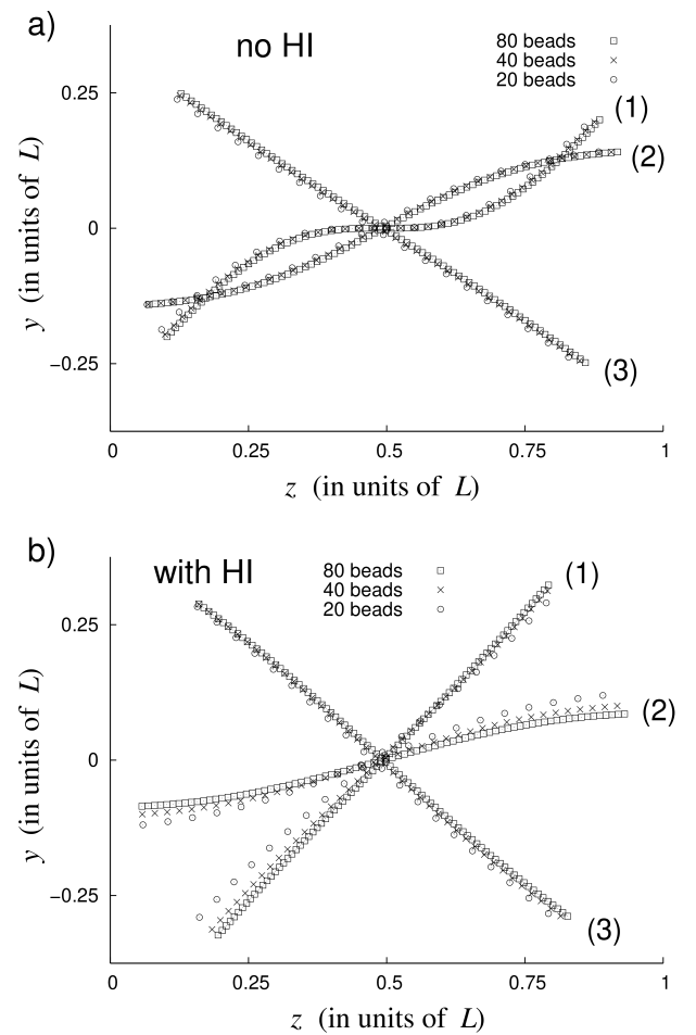Configurations of the superparamagnetic filament at the same moments within one period of the oscillating magnetic field. The reduced parameters