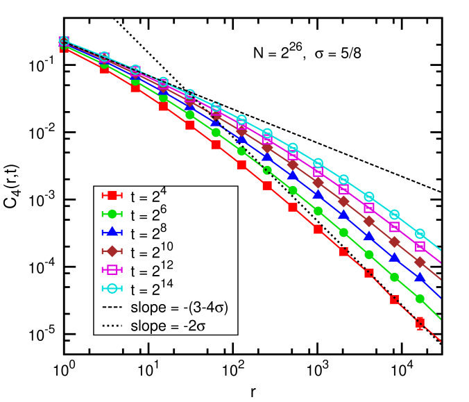 Data for the correlation function for the largest size