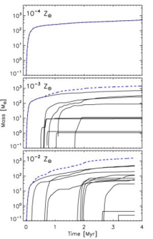 Masses of individual sink particles (black lines) and total mass in sink particles (blue dashed line) in the