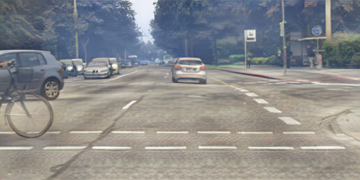 Sample results of translated images. S2T: the structure content of GTA5 images in (a) are combined with the texture appearance of Cityscapes images in (b) and (d) to output translated images in (c) and (e), respectively. T2S: the structure content of Cityscapes images in (a) are combined with the texture appearance of GTA5 images in (b) and (d) to output translated images in (c) and (e), respectively.