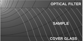 Temperature field in the cell. Distribution of the isothermal surfaces (black lines) and the temperature gradient direction (white lines), due to the absorption of a laser beam by the optical filter at the top.