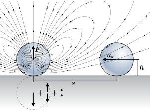 Streamlines of the flow generated by a point force pointing away from a plane wall with sticky boundary conditions. The resulting flow can be represented as the superposition of the Stokeslet flow produces by the force