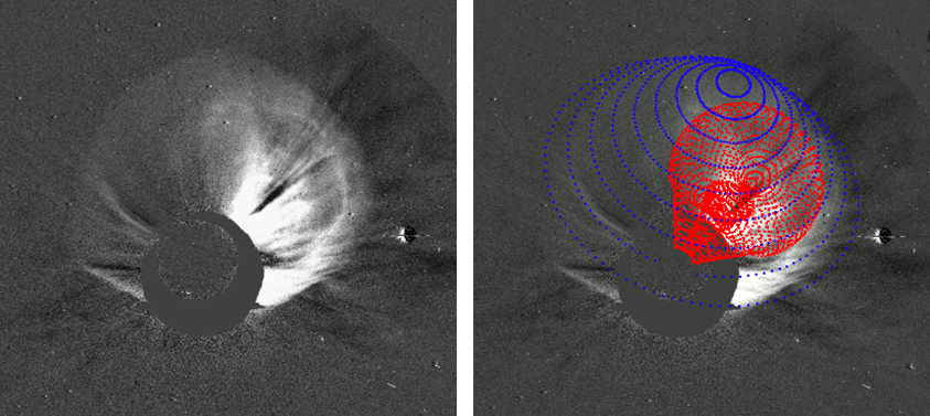 Example of a 3D fitting of the shock and its CME driver for the event on March 7, 2011 using the forward modeling method in