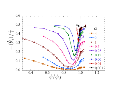 Average particle angular velocity scaled by strain rate