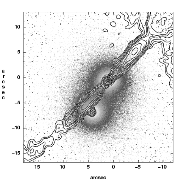 1.4 GHz A array (contours) overlaid with the HST image of the dumbbell galaxies (grayscale). The contour levels are 0.23, 0.33, 0.48, 0.71, 0.85, 1.1, 1.6, 2.3, 3.4, 4.8 mJy (beam area)