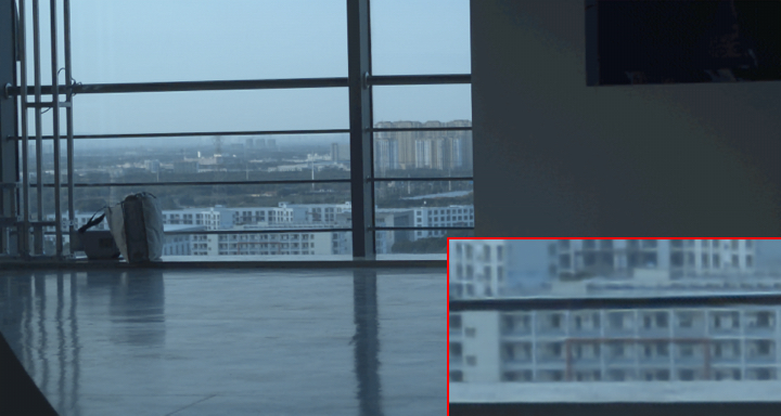 (color online). Comparison of full 4K RGB images with different compression level for an indoor, a mixed-indoor-outdoor and an outdoor scenes are presented in the three rows of panels. The left panels present the original RGB images demosaiced from the original raw-bayer data. The middle panels present the RGB images demosaiced from reconstructed raw-bayer data compressed by a four masks of dimension