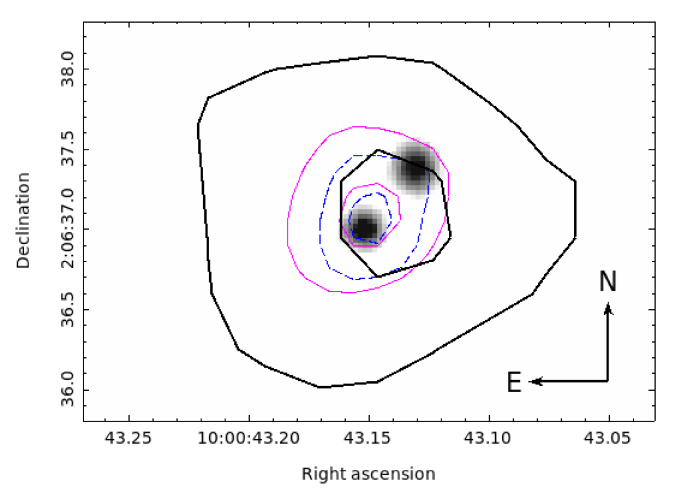 Top: HST/ACS gray-scale image showing the two optical components of CID-42 with contours from the radio data overlaid. For each radio map, two contour lines are shown that correspond to 3