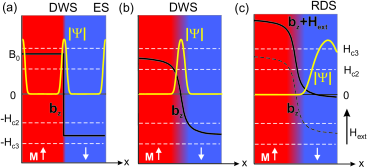 (color online). Illustration of DWS, ES and RDS across a thin film S strip on top of a F substrate with two domains with perpendicular Magnetization