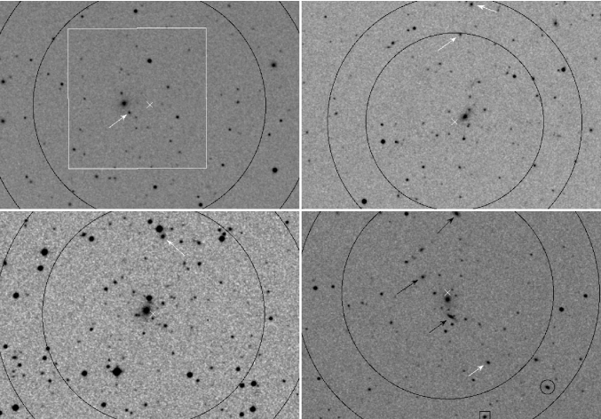 DSS2 images of FGs. From left to right, top to bottom: cl0245p0936, cl0259p0013, cl0532m4614, and cl1038p4146.