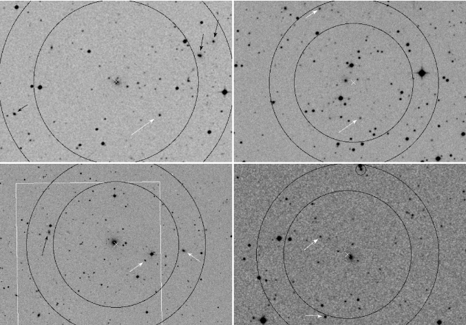 DSS2 images of FGs. From left to right top to bottom: cl1042m0008, cl1110m2957, cl1159p5531, and cl1340p4017.
