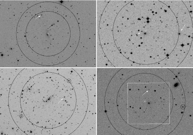 DSS2 images of FGs. From left to right top to bottom: cl1416p2315, cl2114m6800, cl2220m5228, and cl2247p0337.