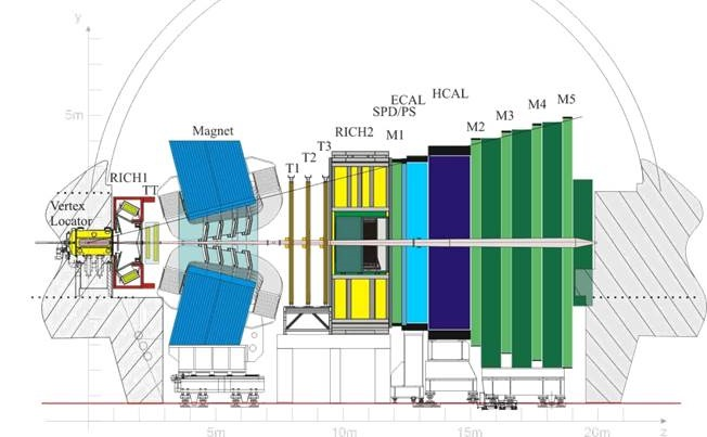 Layout of the LHCb detector.