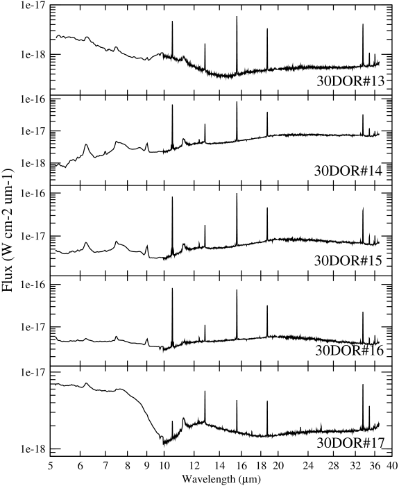 Spectra of MIR sources in 30Dor (Table