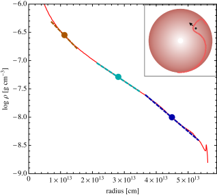 Density gradients encountered by objects embedded within the envelope of a giant star (as drawn schematically in the inset image). In the inset cartoon, an embedded star orbits within its companions envelope, shocking the surrounding material. In the main panel, we show the radial density profile of a