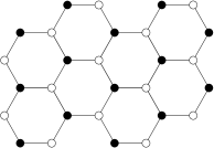 Honeycomb lattice with two different atoms (black and white circles). The straight lines correspond to unstrained springs of force constant
